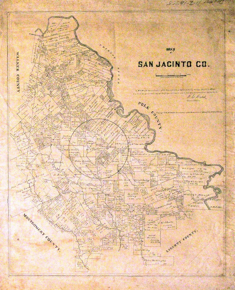 Map of San Jacinto Co. Texas General Land Office.