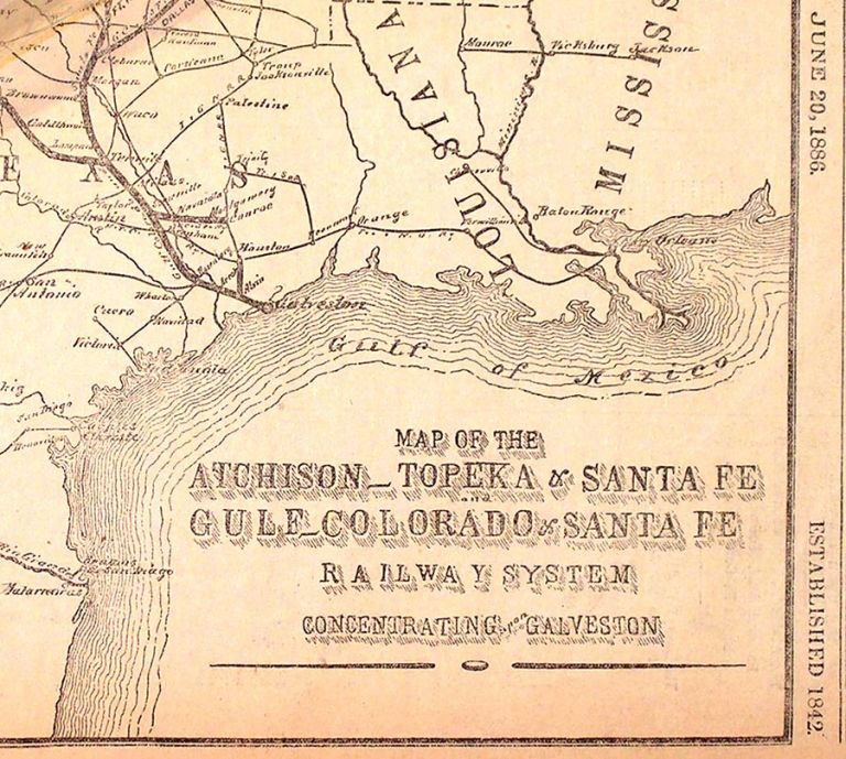 Map of the Atchison-Topeka & Santa Fe Gulf-Colorado & Santa Fe Railway System Concentrating upon Galveston. The Galveston Daily News.