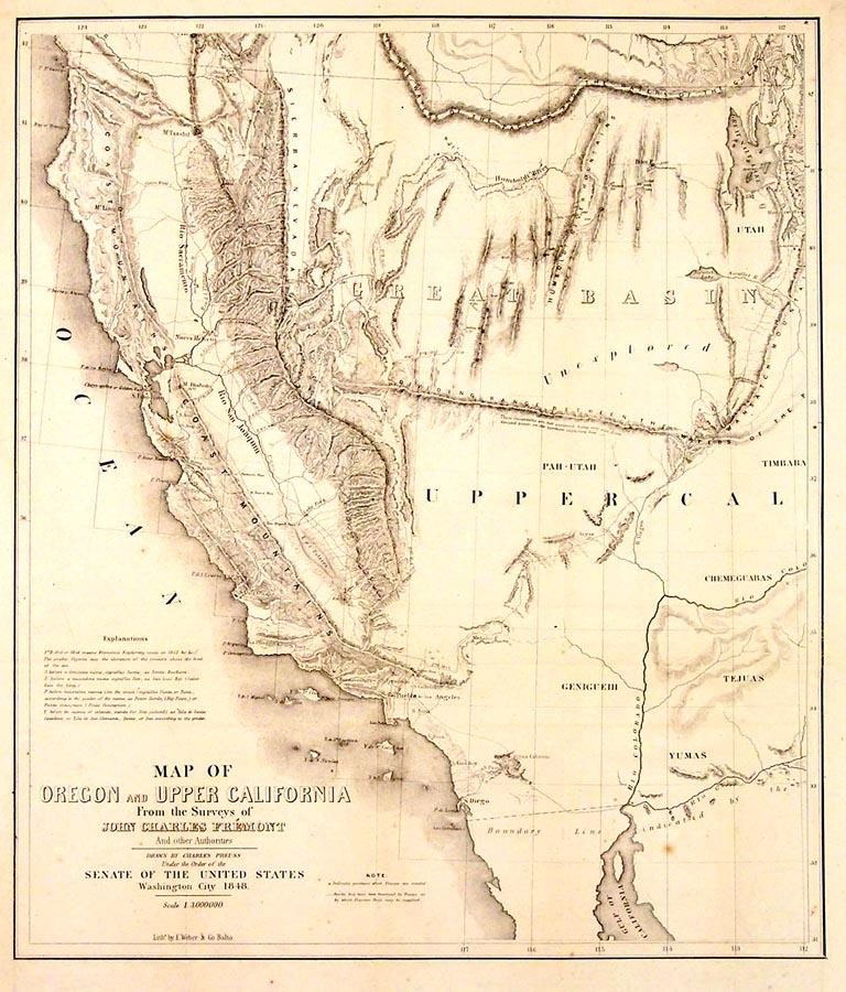 Map of Oregon and Upper California from the Surveys of John Charles Fremont and other Authorities. Preuss.