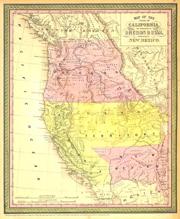 Map of the State of California, the Territories of Oregon & Utah, and the chief part of New Mexico. Cowperthwait, Mitchell.