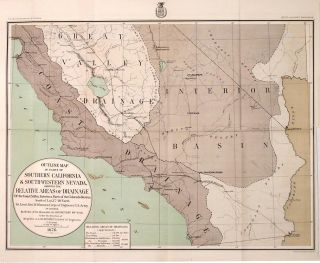 Outline Map of Parts of Southern California & South-Western Nevada, Showing the Relative Areas of...