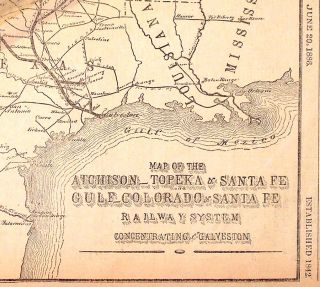 Map of the Atchison-Topeka & Santa Fe Gulf-Colorado & Santa Fe Railway System Concentrating upon...